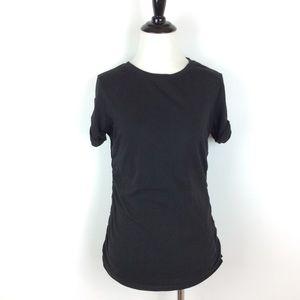 Michael Kors Black Zip Sleeve Ruched Tee Size M
